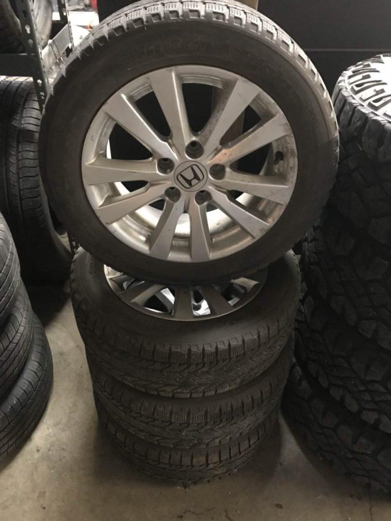 205/55r16 BFg snow tires on Honda rims