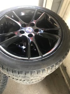 Set of 17 inch Saab rims with snow tires
